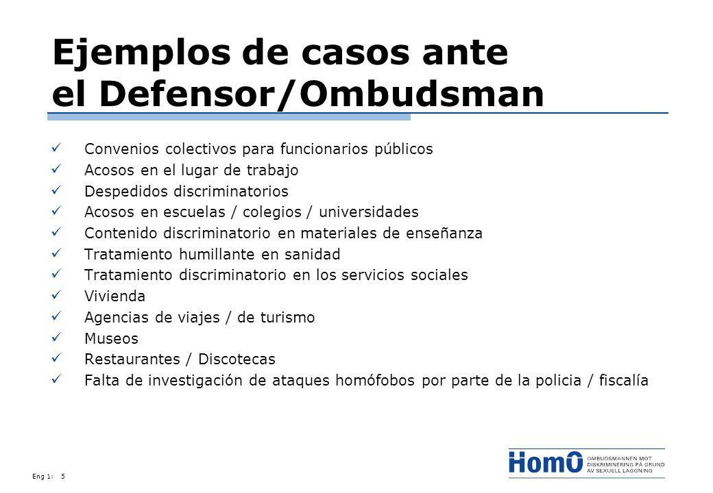Ejemplos de casos ante el Defensor/Ombudsman