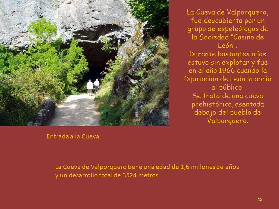 La Cueva de Valporquero, fue descubierta por un grupo de espeleólogos de la Sociedad Casino de León .