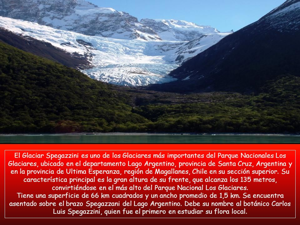 El Glaciar Spegazzini es uno de los Glaciares más importantes del Parque Nacionales Los Glaciares, ubicado en el departamento Lago Argentino, provincia de Santa Cruz, Argentina y en la provincia de Ultima Esperanza, región de Magallanes, Chile en su sección superior. Su característica principal es la gran altura de su frente, que alcanza los 135 metros, convirtiéndose en el más alto del Parque Nacional Los Glaciares.