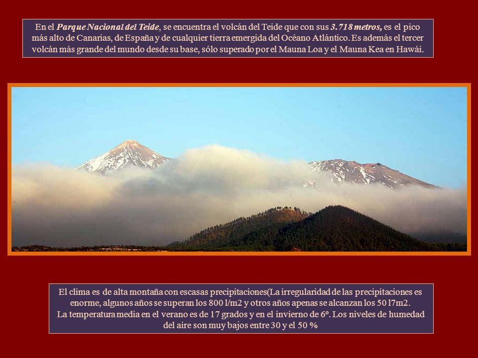 En el Parque Nacional del Teide, se encuentra el volcán del Teide que con sus 3.718 metros, es el pico más alto de Canarias, de España y de cualquier tierra emergida del Océano Atlántico. Es además el tercer volcán más grande del mundo desde su base, sólo superado por el Mauna Loa y el Mauna Kea en Hawái.