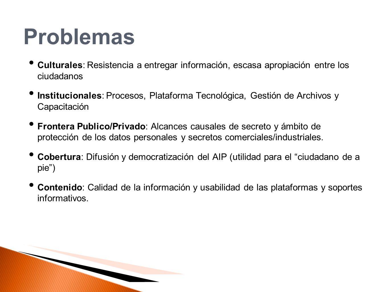 Problemas Culturales: Resistencia a entregar información, escasa apropiación entre los ciudadanos.