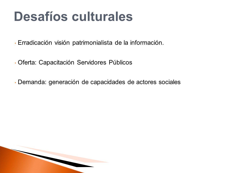 Desafíos culturales Erradicación visión patrimonialista de la información. Oferta: Capacitación Servidores Públicos.