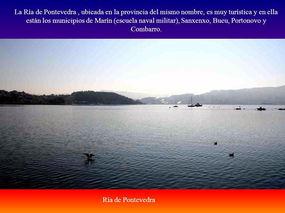 La Ría de Pontevedra , ubicada en la provincia del mismo nombre, es muy turística y en ella están los municipios de Marín (escuela naval militar), Sanxenxo, Bueu, Portonovo y Combarro.