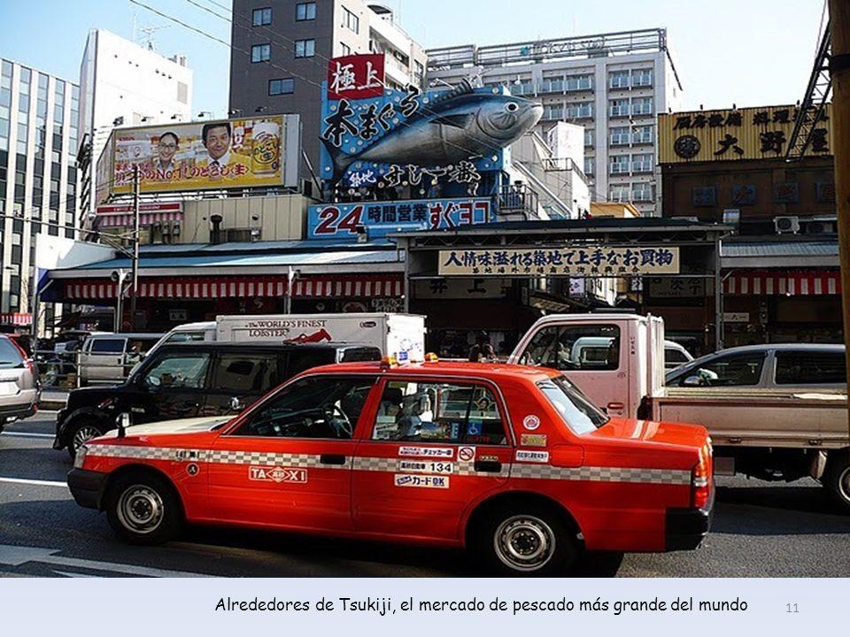 Alrededores de Tsukiji, el mercado de pescado más grande del mundo