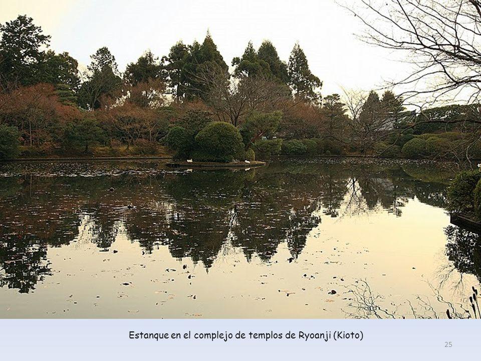 Estanque en el complejo de templos de Ryoanji (Kioto)