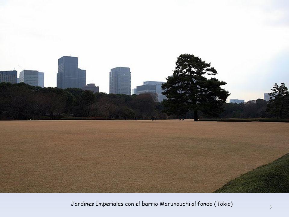 Jardines Imperiales con el barrio Marunouchi al fondo (Tokio)