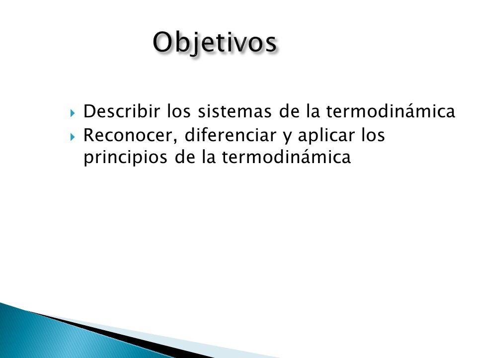Objetivos Describir los sistemas de la termodinámica