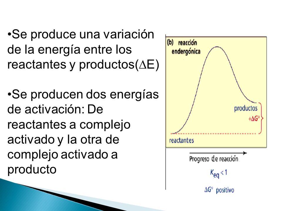 Se produce una variación de la energía entre los reactantes y productos(E)