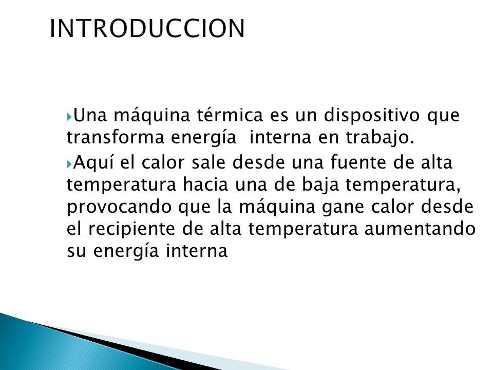 INTRODUCCIONUna máquina térmica es un dispositivo que transforma energía interna en trabajo.