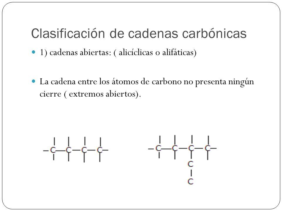 Clasificación de cadenas carbónicas