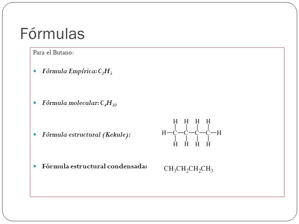Fórmulas Para el Butano: Fórmula Empírica: C2H5