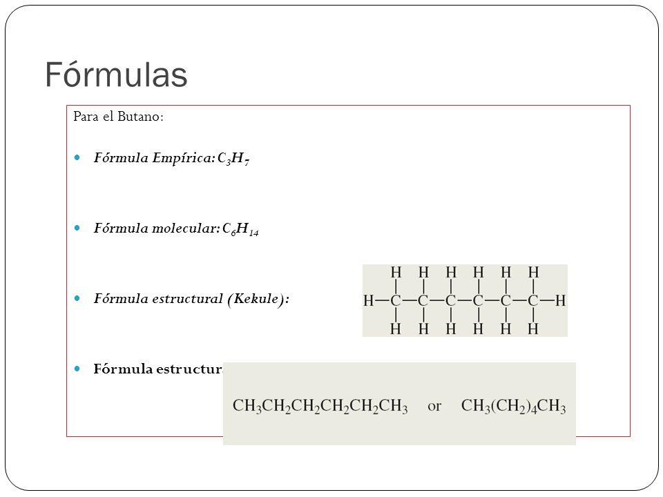 Fórmulas Para el Butano: Fórmula Empírica: C3H7