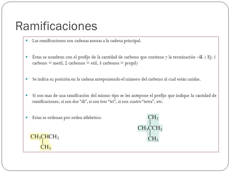 Ramificaciones Las ramificaciones son cadenas anexas a la cadena principal.