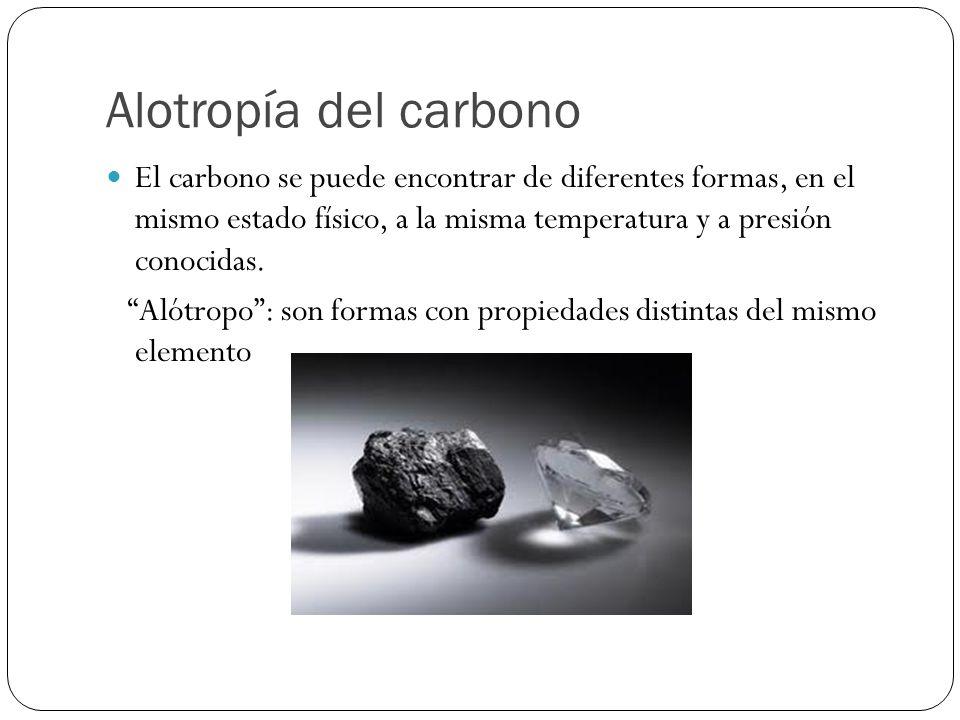 Alotropía del carbono El carbono se puede encontrar de diferentes formas, en el mismo estado físico, a la misma temperatura y a presión conocidas.