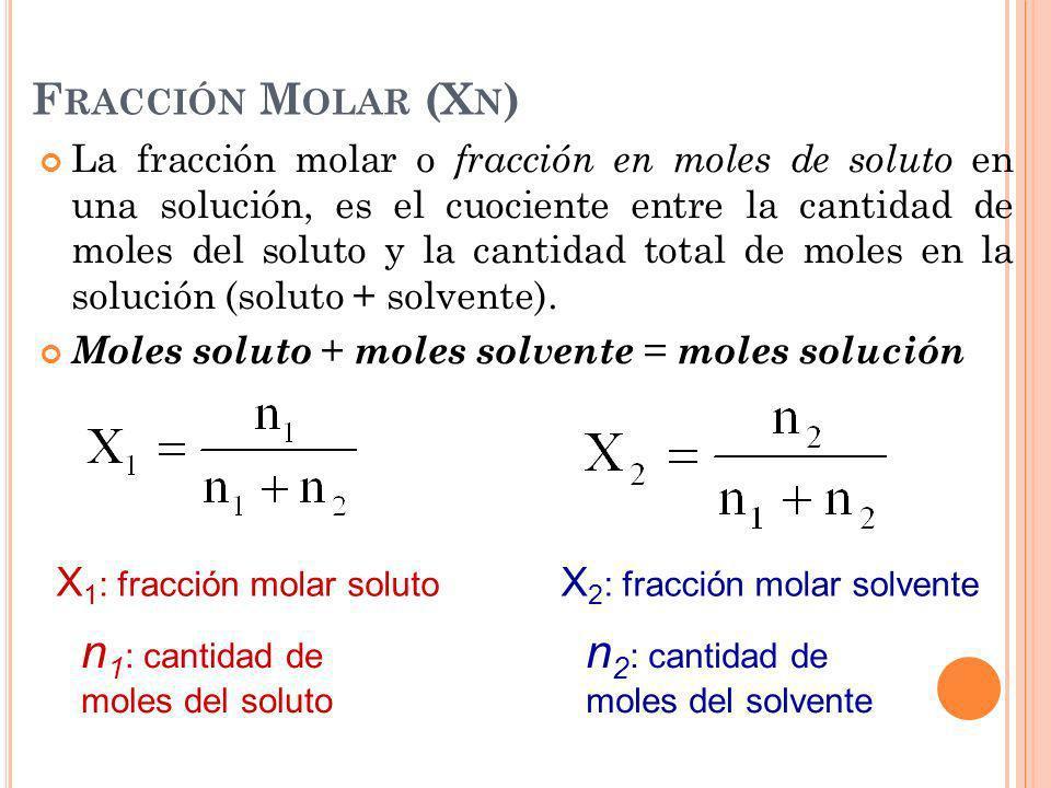 n1: cantidad de moles del soluto n2: cantidad de moles del solvente