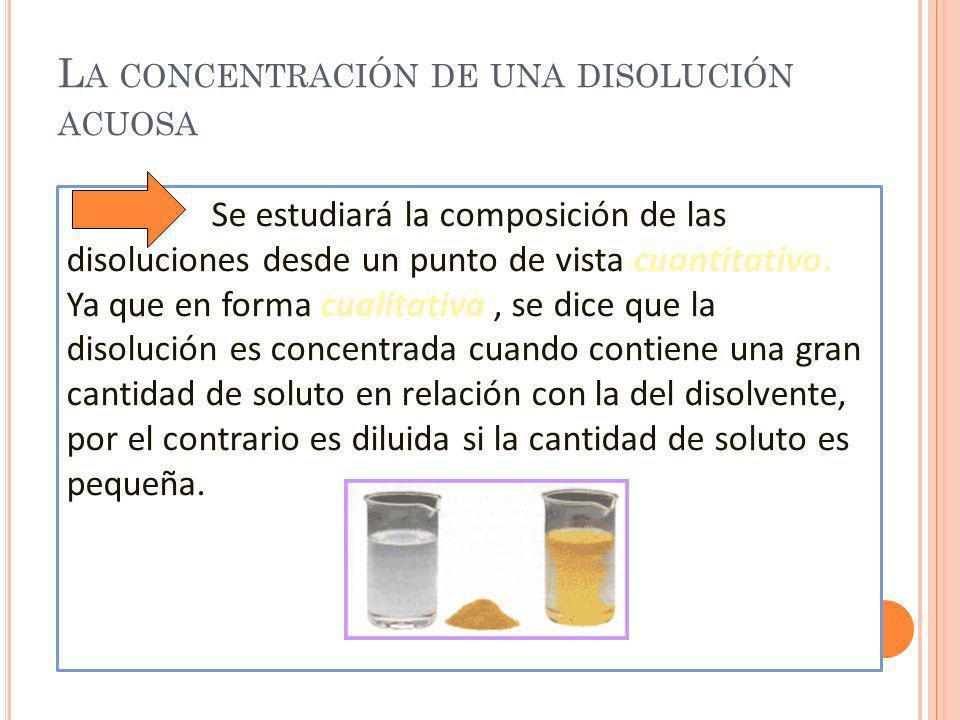La concentración de una disolución acuosa