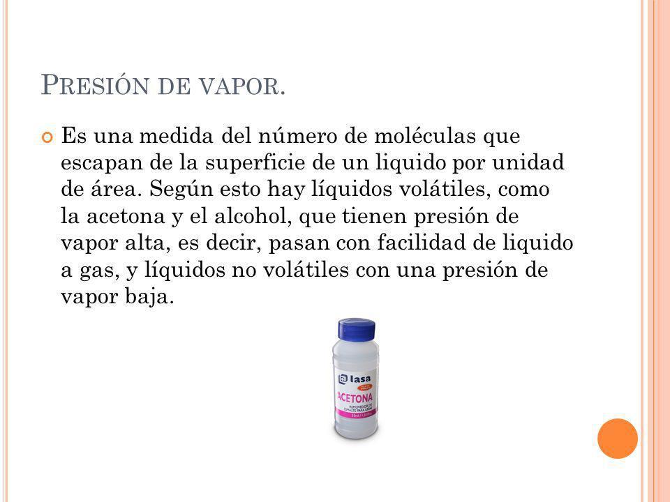 Presión de vapor.