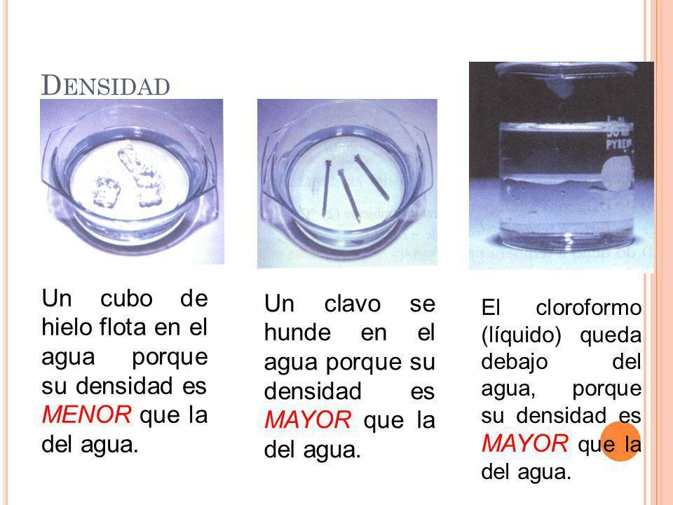 Densidad Un cubo de hielo flota en el agua porque su densidad es MENOR que la del agua.