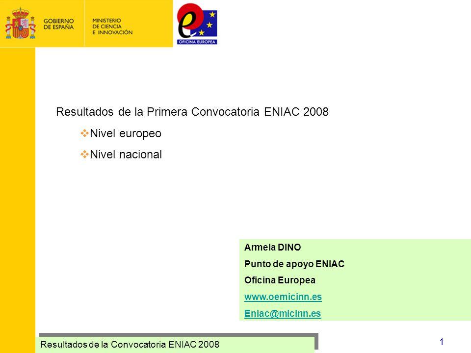 Resultados de la Primera Convocatoria ENIAC 2008 Nivel europeo