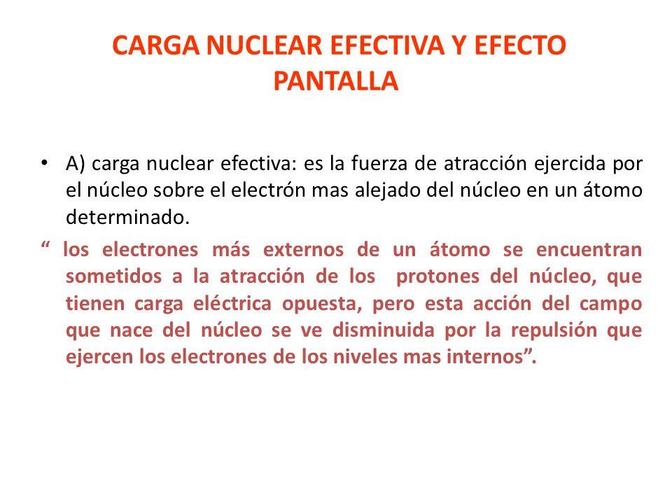 CARGA NUCLEAR EFECTIVA Y EFECTO PANTALLA