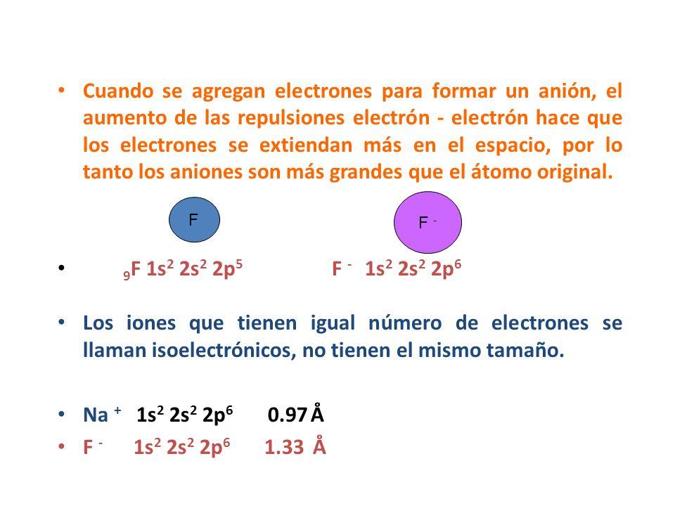 Cuando se agregan electrones para formar un anión, el aumento de las repulsiones electrón - electrón hace que los electrones se extiendan más en el espacio, por lo tanto los aniones son más grandes que el átomo original.