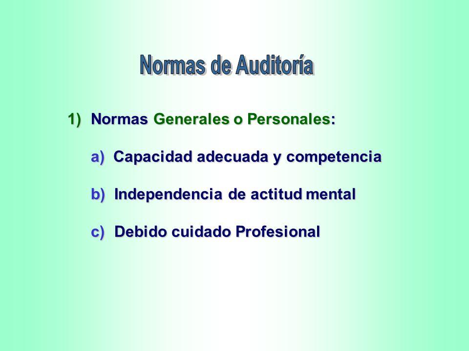 Normas de Auditoría 1) Normas Generales o Personales: