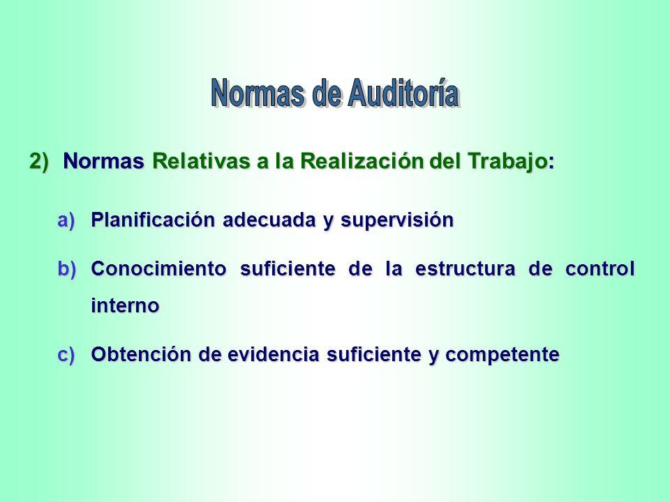 Normas de Auditoría 2) Normas Relativas a la Realización del Trabajo:
