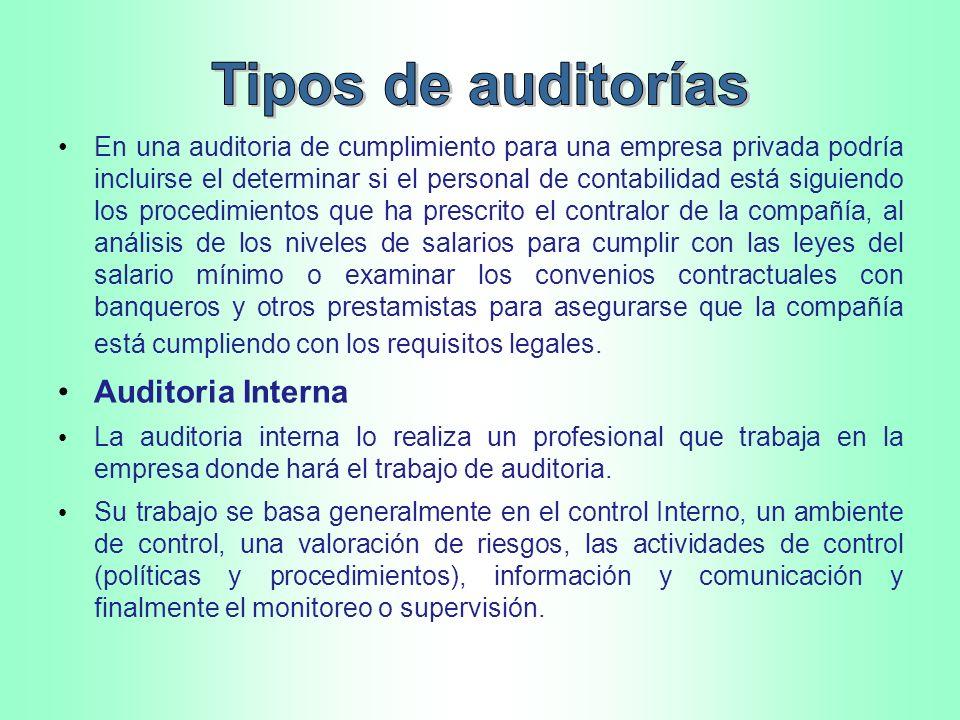 Tipos de auditorías Auditoria Interna