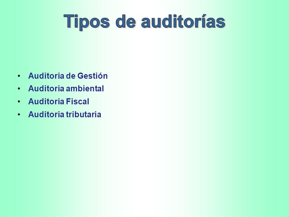 Tipos de auditorías Auditoria de Gestión Auditoria ambiental