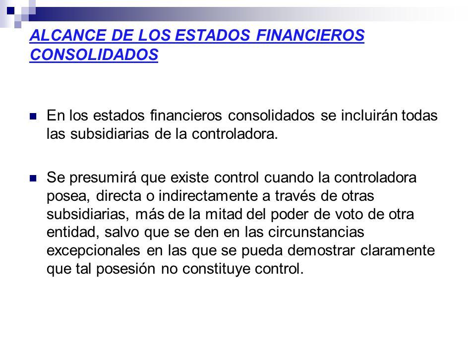 ALCANCE DE LOS ESTADOS FINANCIEROS CONSOLIDADOS