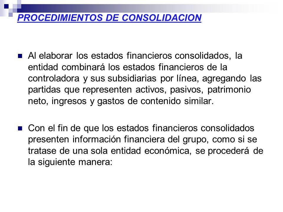PROCEDIMIENTOS DE CONSOLIDACION