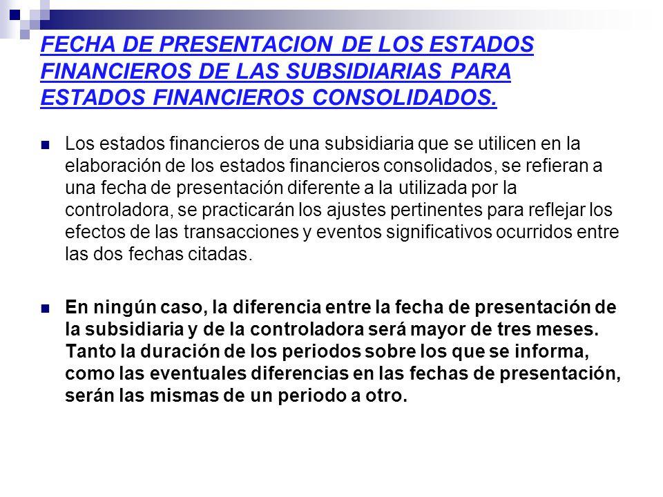 FECHA DE PRESENTACION DE LOS ESTADOS FINANCIEROS DE LAS SUBSIDIARIAS PARA ESTADOS FINANCIEROS CONSOLIDADOS.