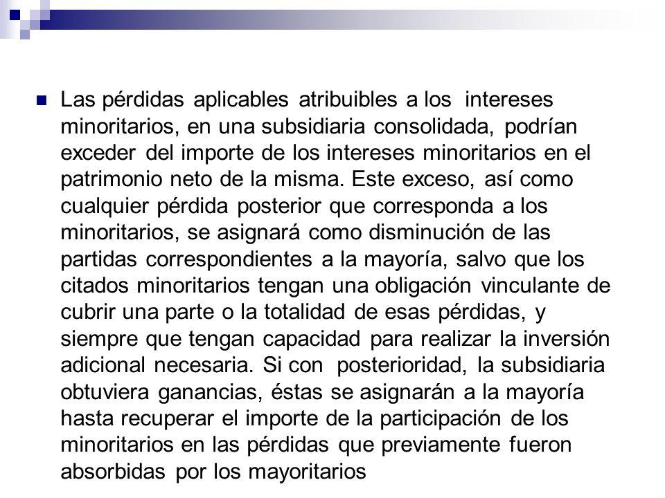 Las pérdidas aplicables atribuibles a los intereses minoritarios, en una subsidiaria consolidada, podrían exceder del importe de los intereses minoritarios en el patrimonio neto de la misma.