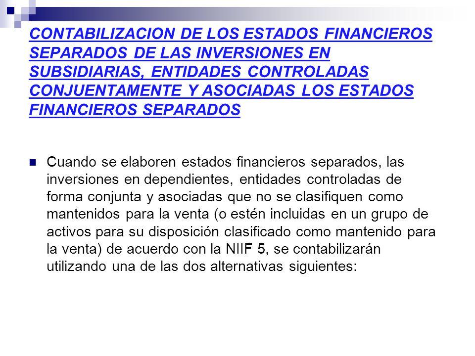 CONTABILIZACION DE LOS ESTADOS FINANCIEROS SEPARADOS DE LAS INVERSIONES EN SUBSIDIARIAS, ENTIDADES CONTROLADAS CONJUENTAMENTE Y ASOCIADAS LOS ESTADOS FINANCIEROS SEPARADOS