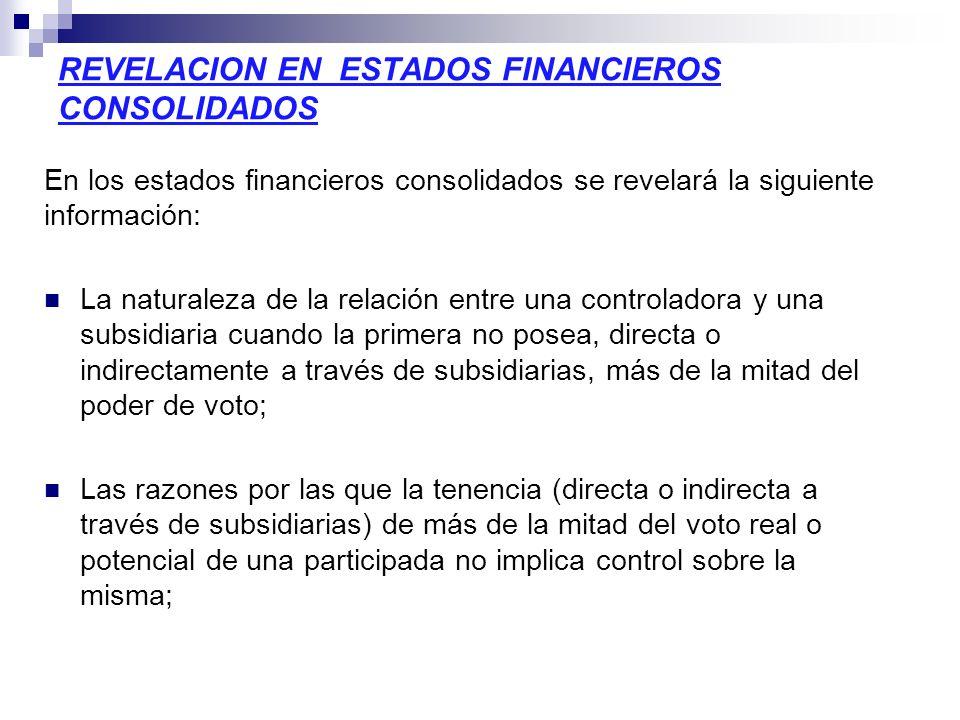 REVELACION EN ESTADOS FINANCIEROS CONSOLIDADOS