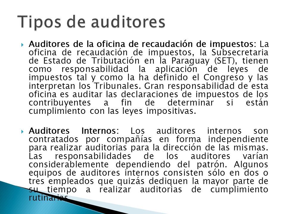 Tipos de auditores