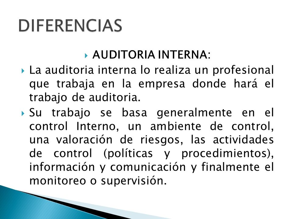 DIFERENCIAS AUDITORIA INTERNA: