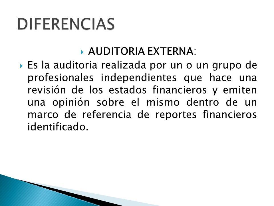 DIFERENCIAS AUDITORIA EXTERNA: