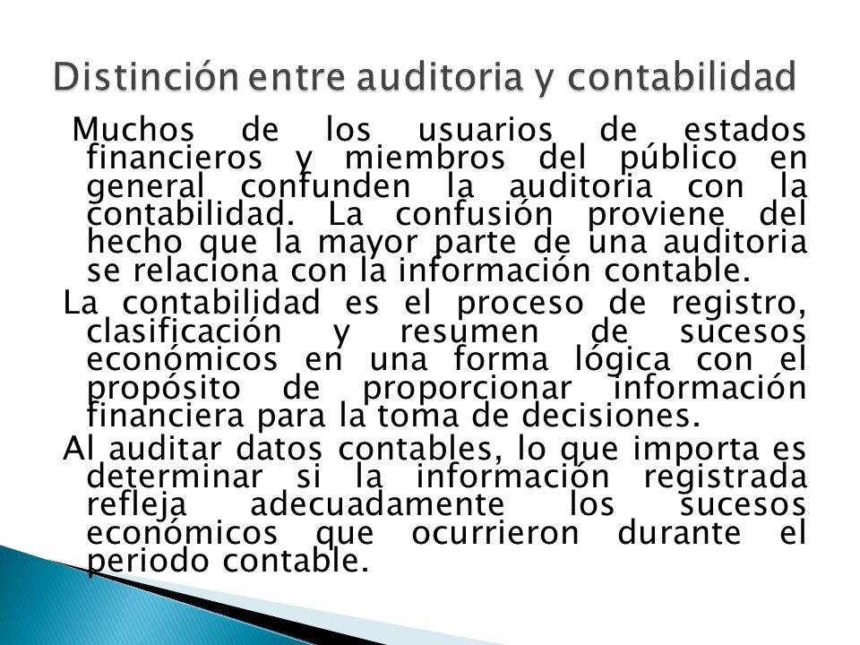Distinción entre auditoria y contabilidad