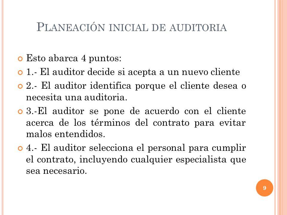Planeación inicial de auditoria
