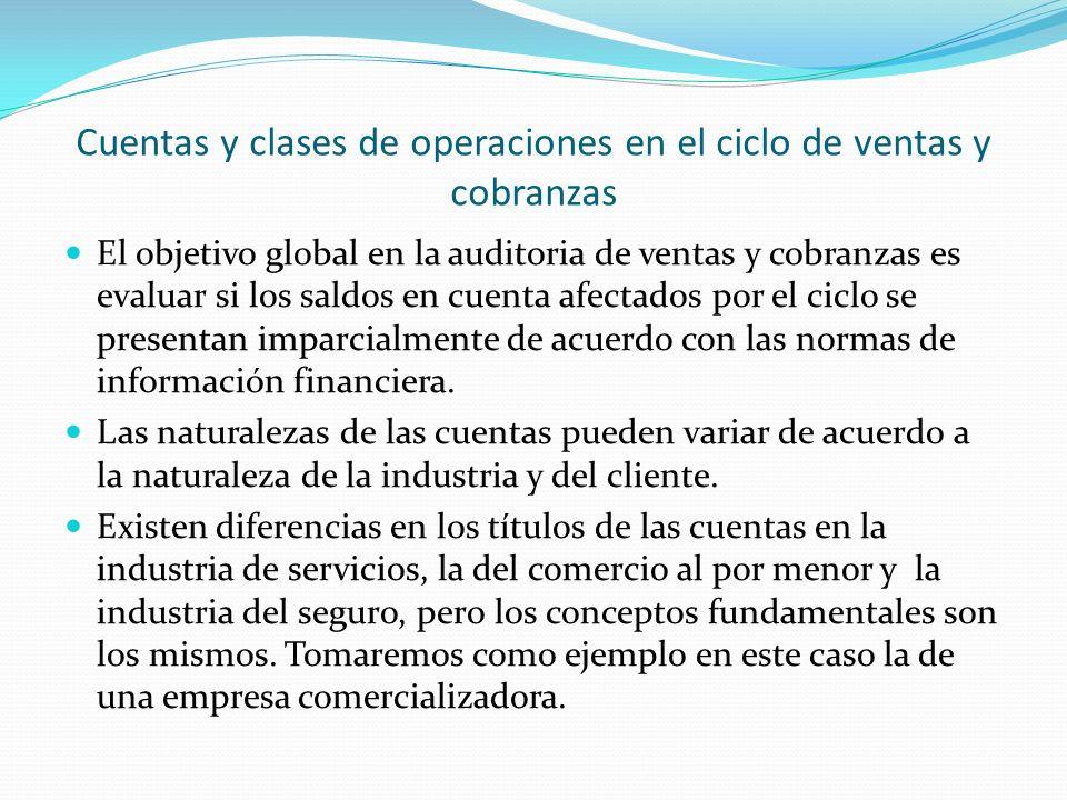 Cuentas y clases de operaciones en el ciclo de ventas y cobranzas