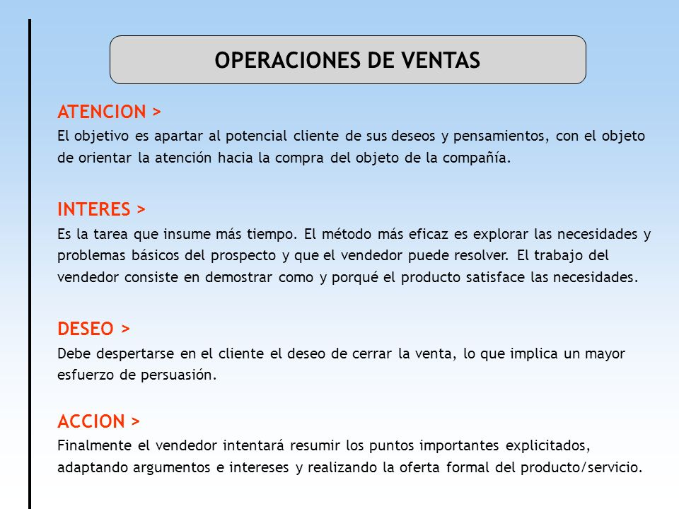 OPERACIONES DE VENTAS ATENCION > INTERES > DESEO >