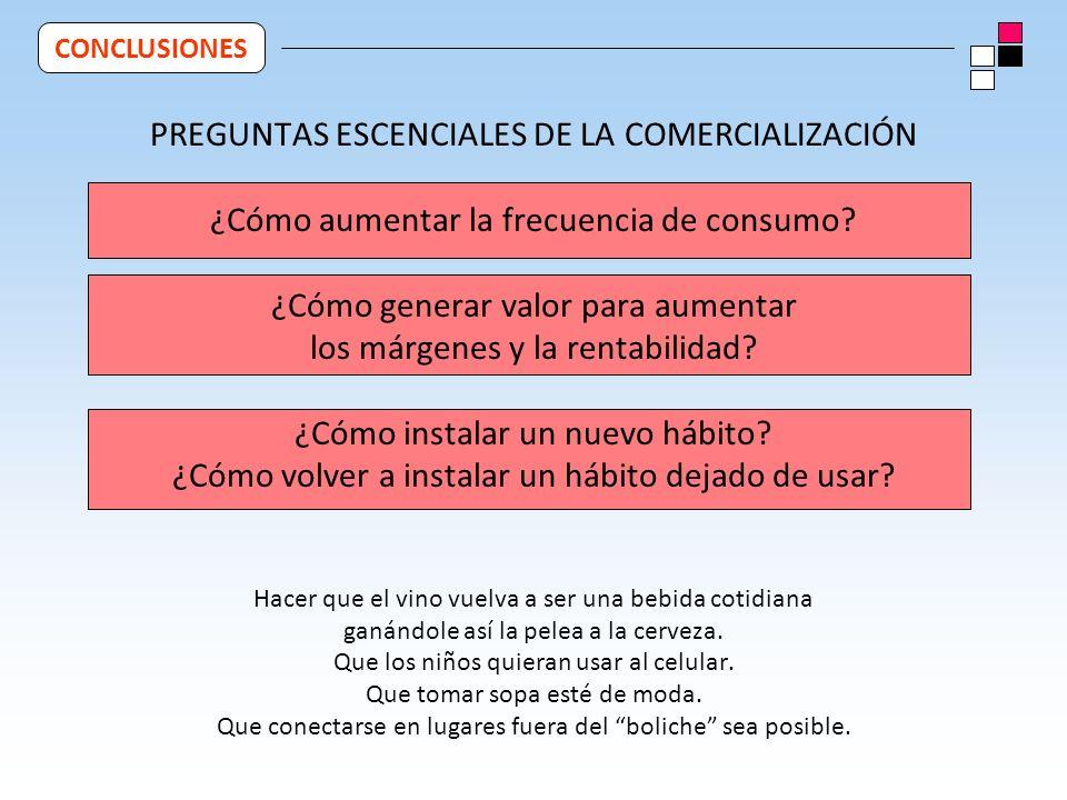 PREGUNTAS ESCENCIALES DE LA COMERCIALIZACIÓN