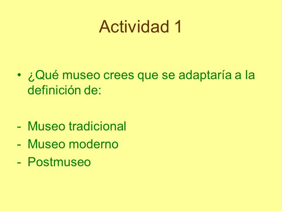 Actividad 1 ¿Qué museo crees que se adaptaría a la definición de: