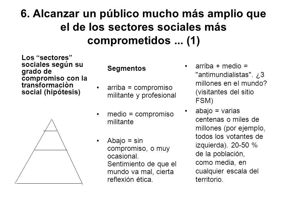 6. Alcanzar un público mucho más amplio que el de los sectores sociales más comprometidos ... (1)