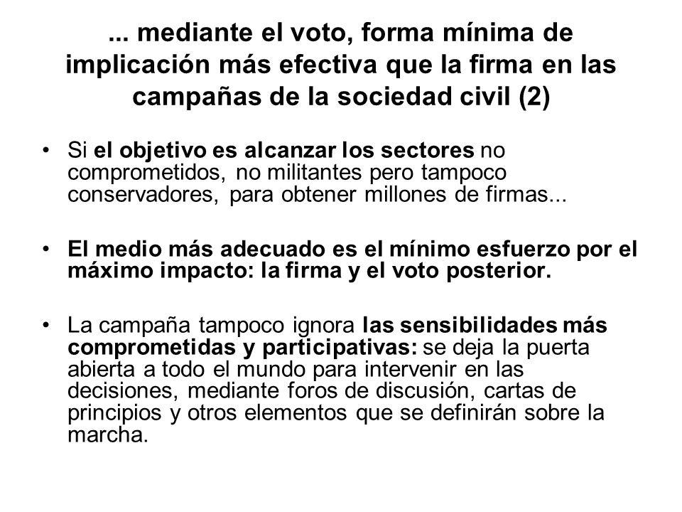 ... mediante el voto, forma mínima de implicación más efectiva que la firma en las campañas de la sociedad civil (2)