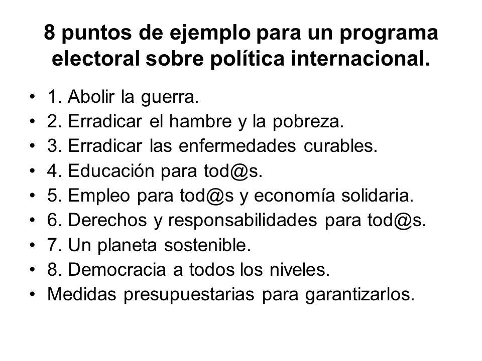 8 puntos de ejemplo para un programa electoral sobre política internacional.