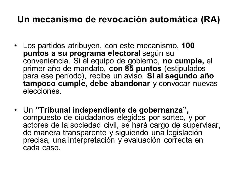 Un mecanismo de revocación automática (RA)