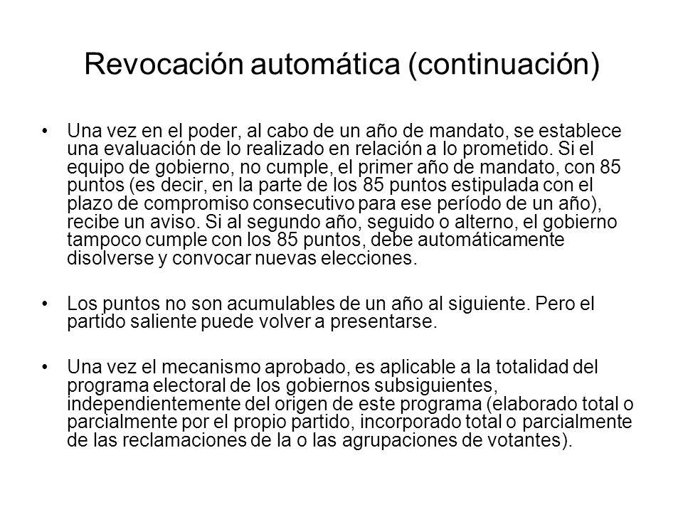 Revocación automática (continuación)