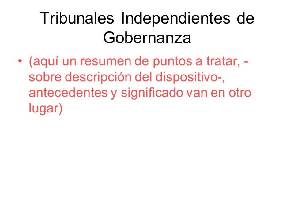 Tribunales Independientes de Gobernanza